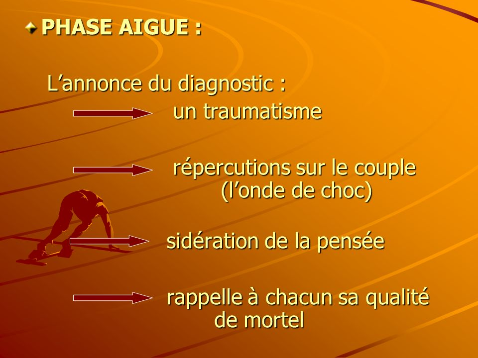 PHASE AIGUE : L'annonce du diagnostic : un traumatisme. répercutions sur le couple (l'onde de choc)