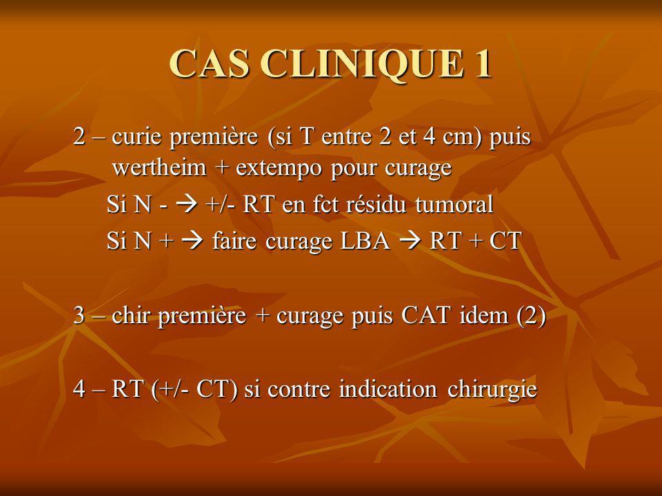CAS CLINIQUE 12 – curie première (si T entre 2 et 4 cm) puis wertheim + extempo pour curage. Si N -  +/- RT en fct résidu tumoral.