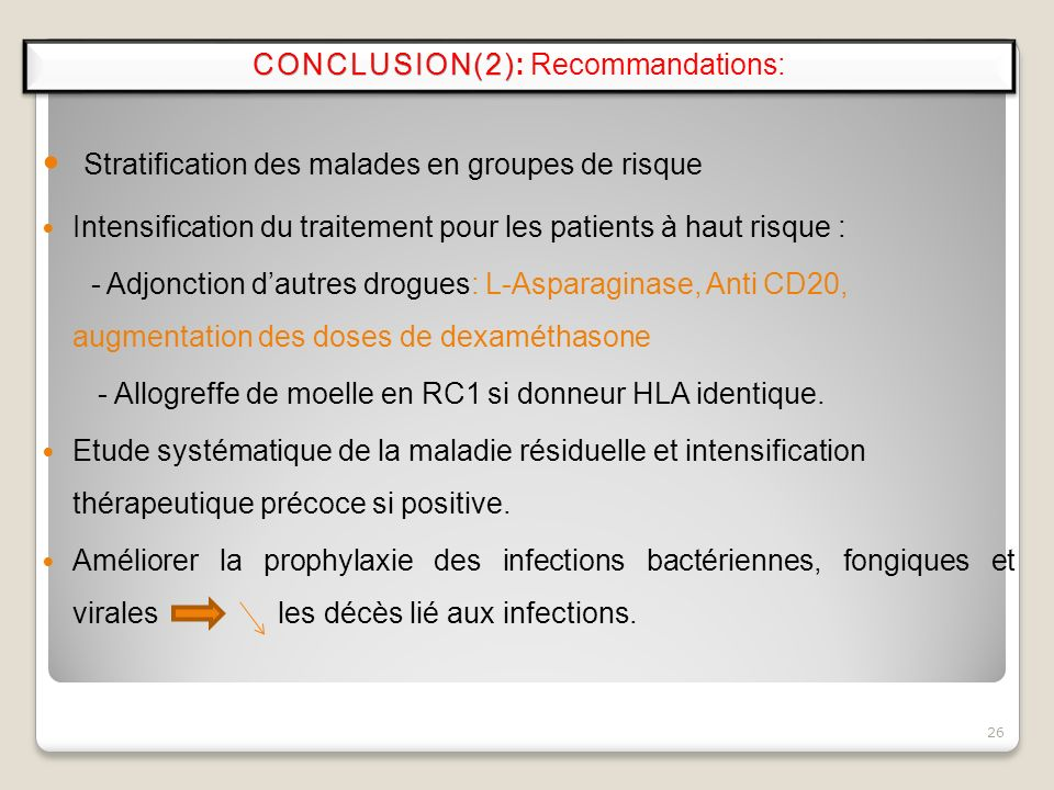 CONCLUSION(2): Recommandations: