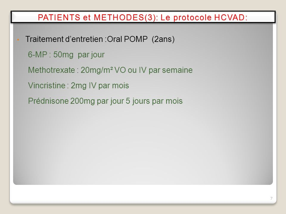 PATIENTS et METHODES(3): Le protocole HCVAD: