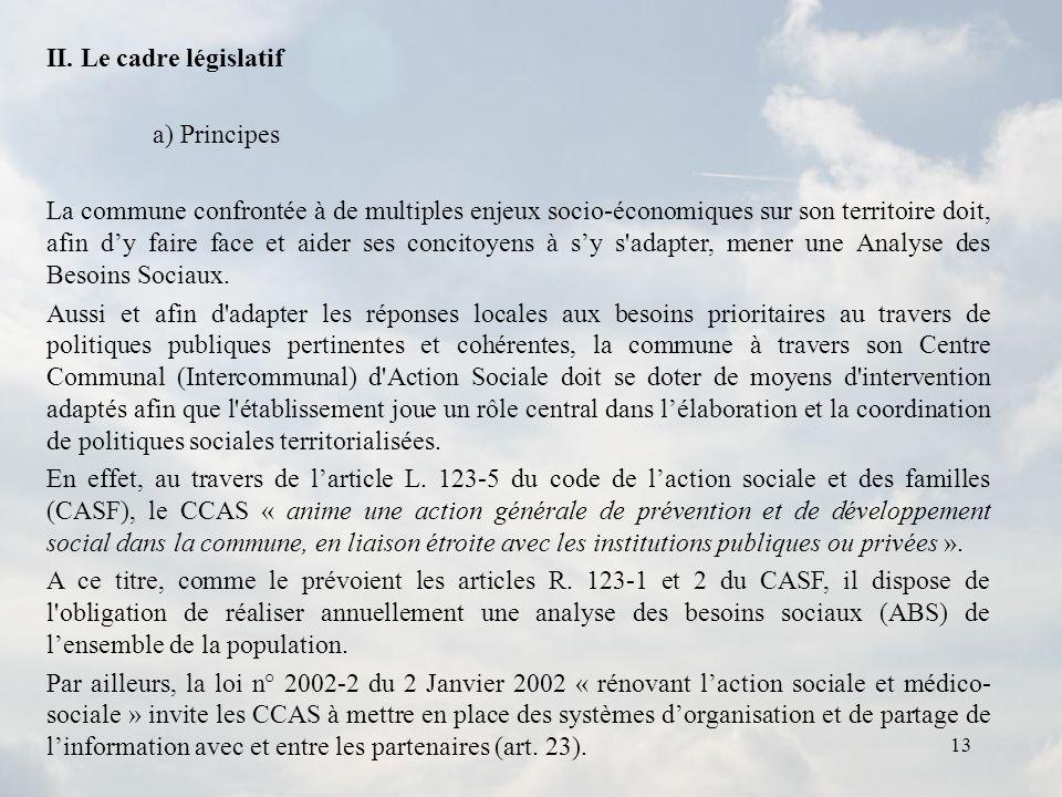 II. Le cadre législatif a) Principes.