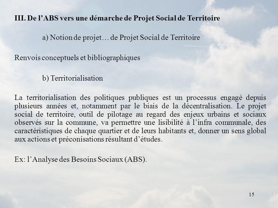 III. De l'ABS vers une démarche de Projet Social de Territoire