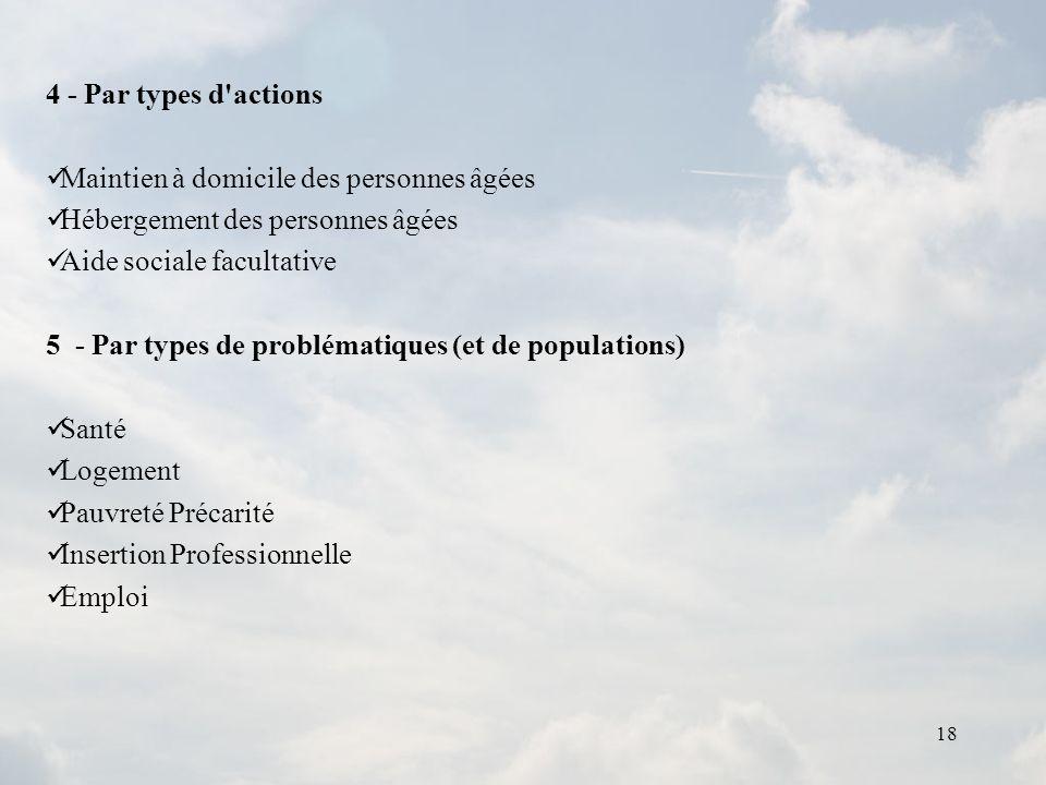 4 - Par types d actionsMaintien à domicile des personnes âgées. Hébergement des personnes âgées. Aide sociale facultative.