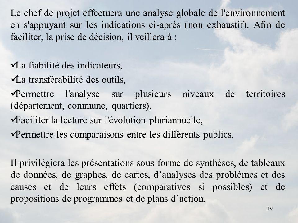 Le chef de projet effectuera une analyse globale de l environnement en s appuyant sur les indications ci-après (non exhaustif). Afin de faciliter, la prise de décision, il veillera à :