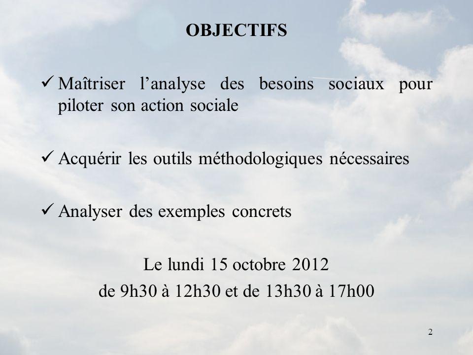 OBJECTIFS Maîtriser l'analyse des besoins sociaux pour piloter son action sociale. Acquérir les outils méthodologiques nécessaires.