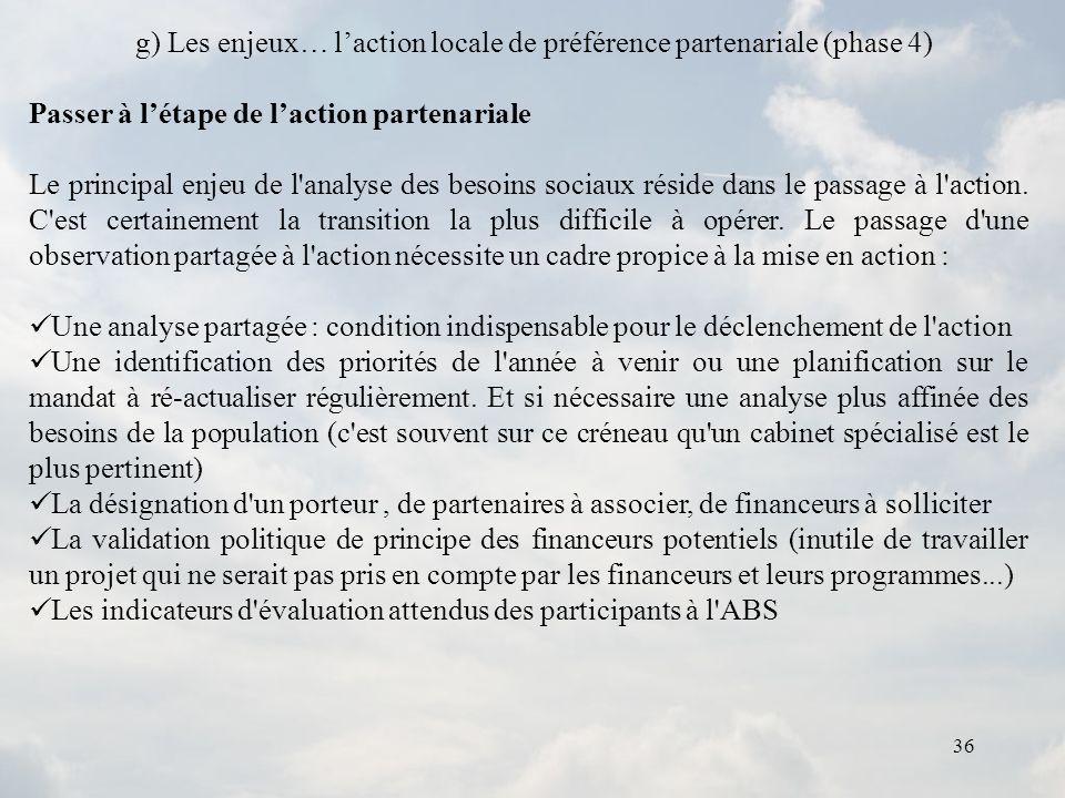 g) Les enjeux… l'action locale de préférence partenariale (phase 4)