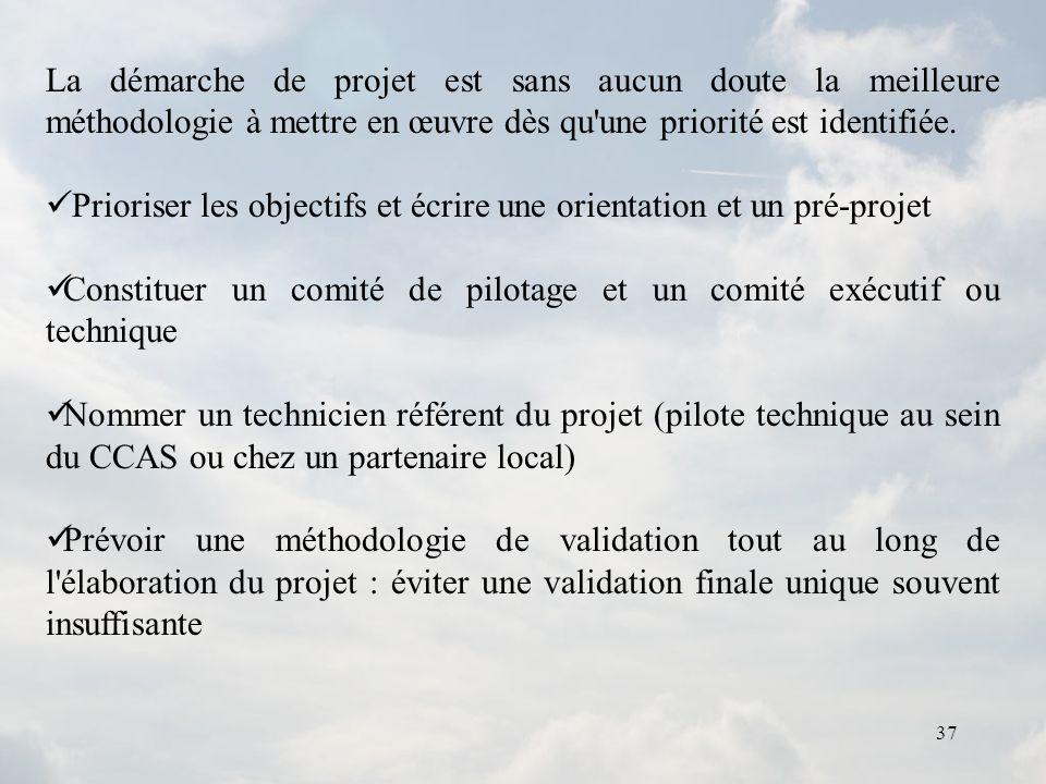 La démarche de projet est sans aucun doute la meilleure méthodologie à mettre en œuvre dès qu une priorité est identifiée.