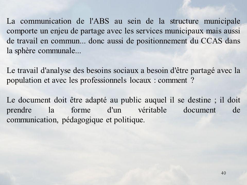 La communication de l ABS au sein de la structure municipale comporte un enjeu de partage avec les services municipaux mais aussi de travail en commun... donc aussi de positionnement du CCAS dans la sphère communale...