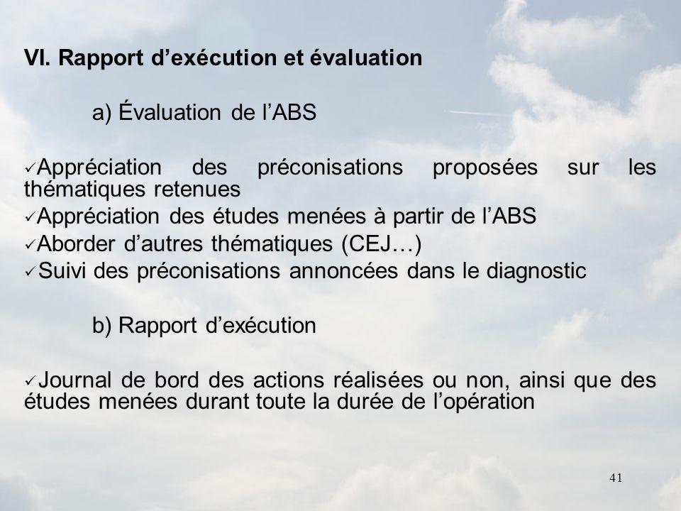 VI. Rapport d'exécution et évaluation