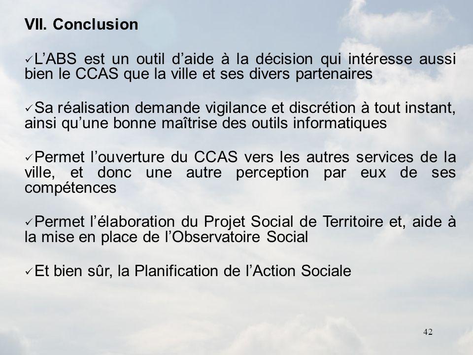 VII. ConclusionL'ABS est un outil d'aide à la décision qui intéresse aussi bien le CCAS que la ville et ses divers partenaires.