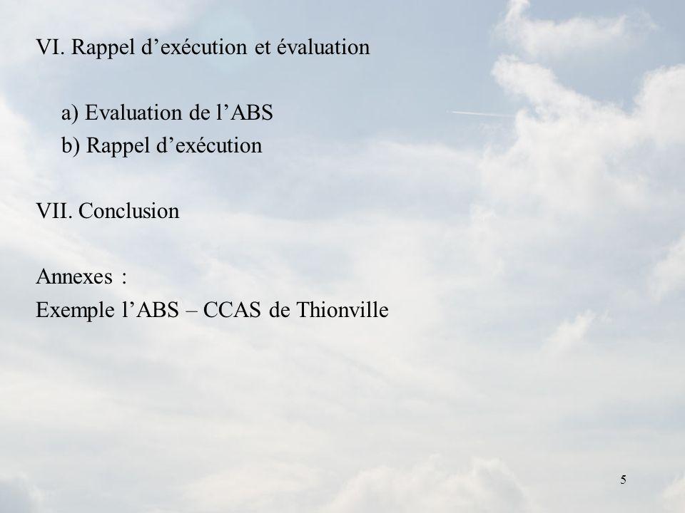 VI. Rappel d'exécution et évaluation
