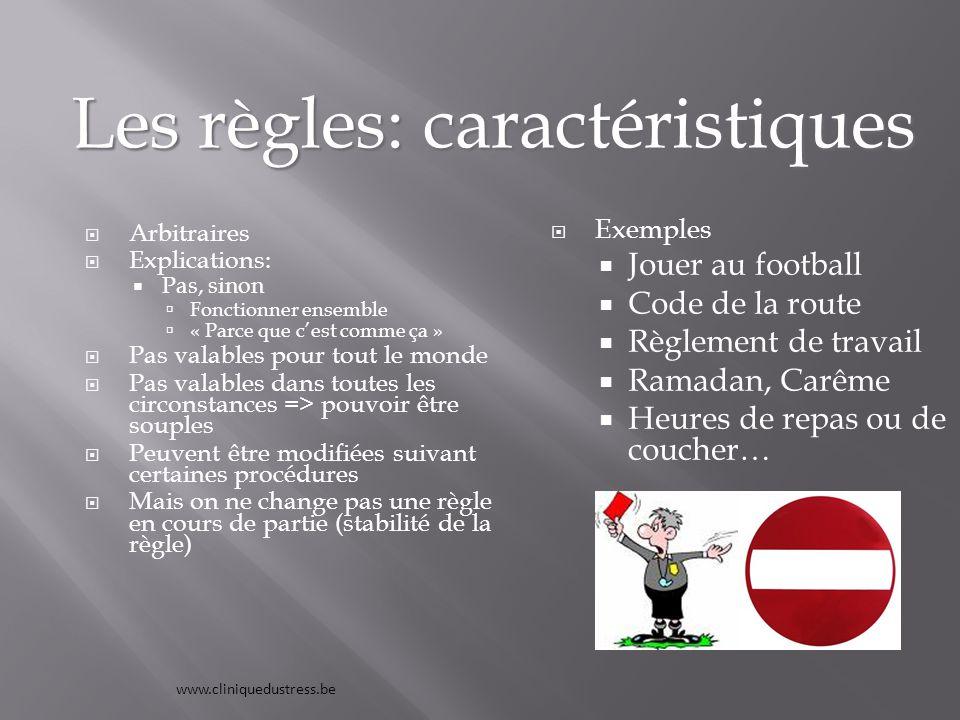 Les règles: caractéristiques