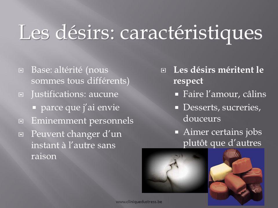 Les désirs: caractéristiques