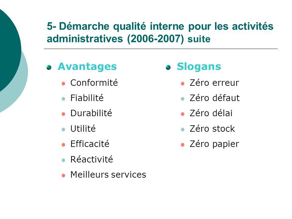 5- Démarche qualité interne pour les activités administratives (2006-2007) suite