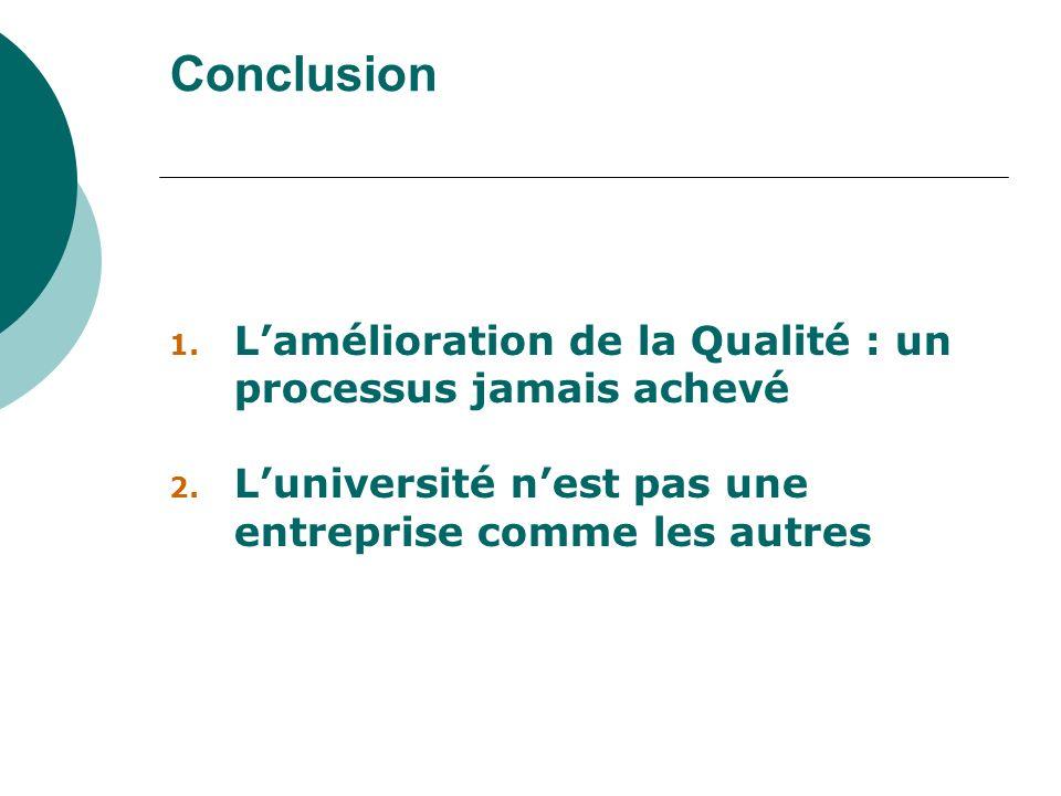 Conclusion L'amélioration de la Qualité : un processus jamais achevé