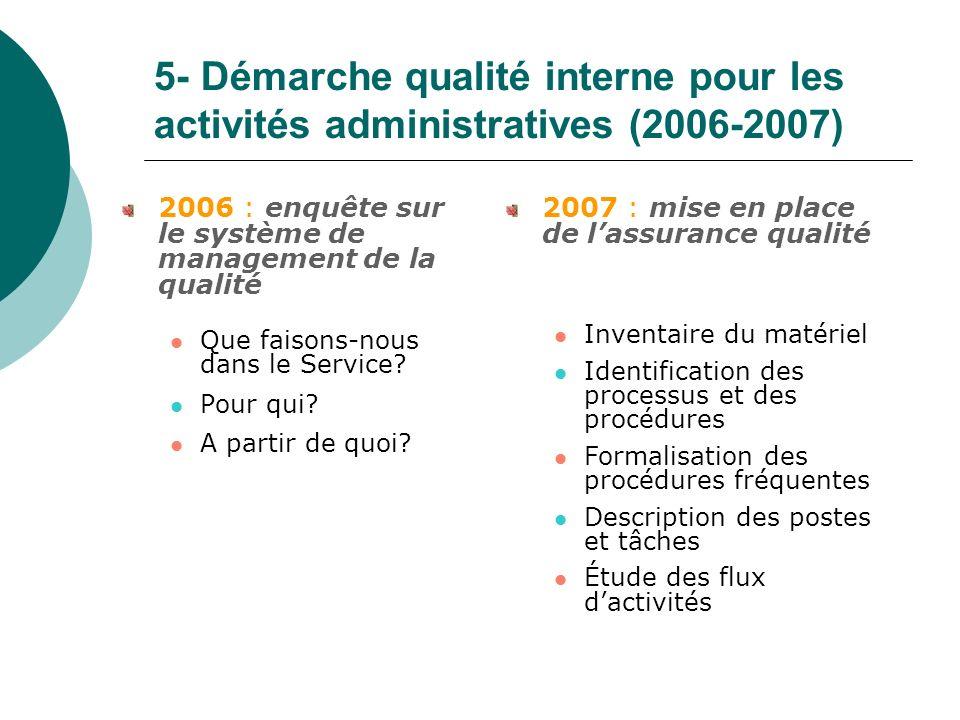 5- Démarche qualité interne pour les activités administratives (2006-2007)