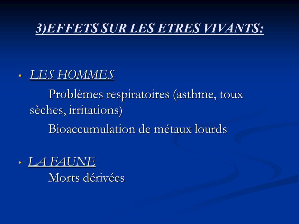 3)EFFETS SUR LES ETRES VIVANTS: