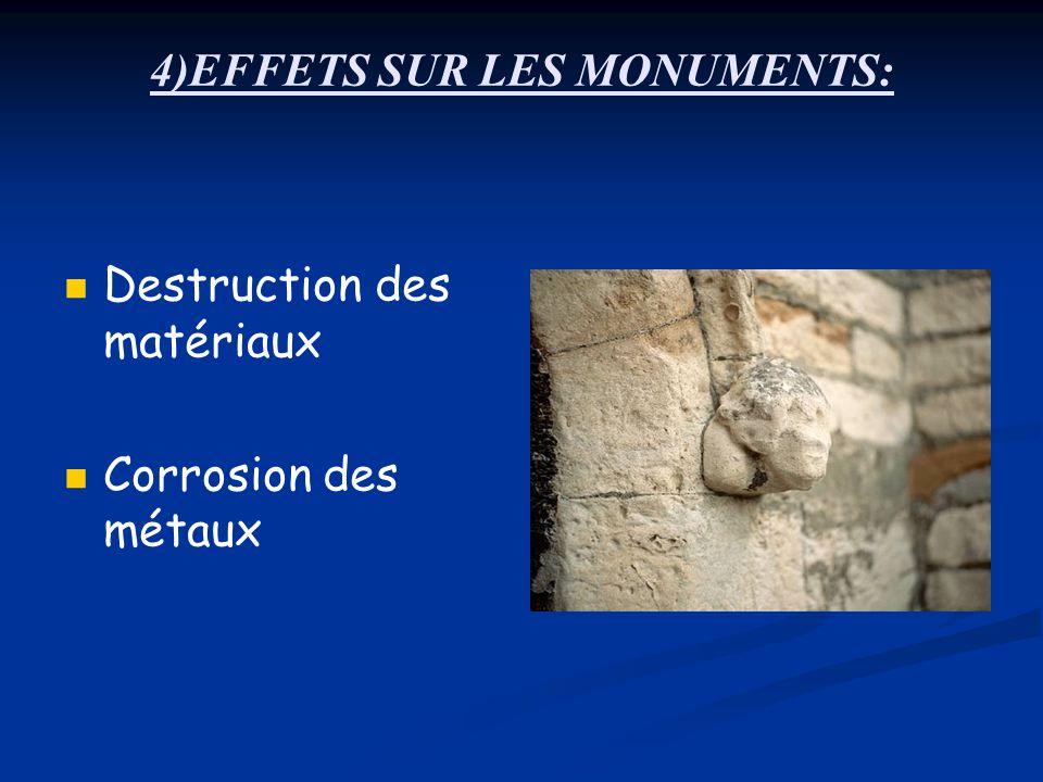 4)EFFETS SUR LES MONUMENTS: