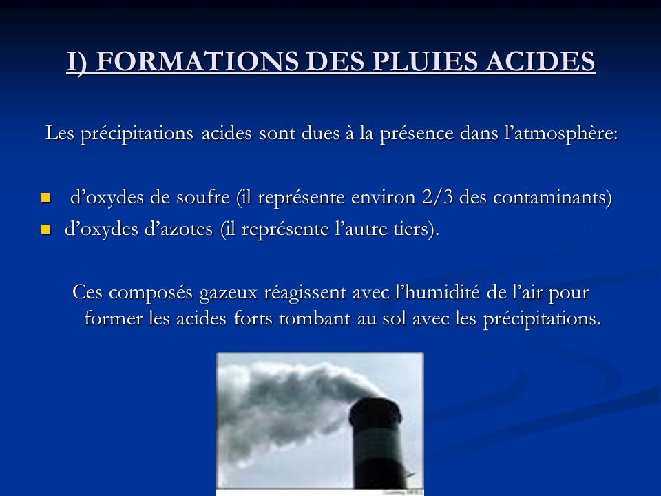 I) FORMATIONS DES PLUIES ACIDES