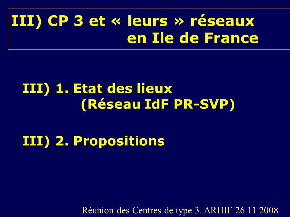 III) CP 3 et « leurs » réseaux en Ile de France