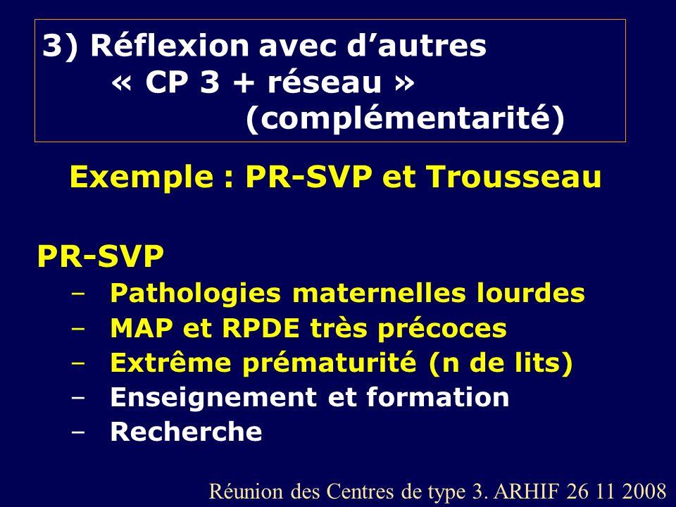 3) Réflexion avec d'autres « CP 3 + réseau » (complémentarité)