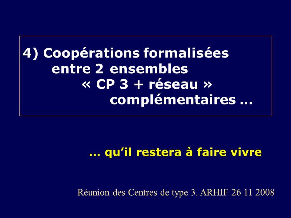 4) Coopérations formalisées. entre 2. ensembles. « CP 3 + réseau »