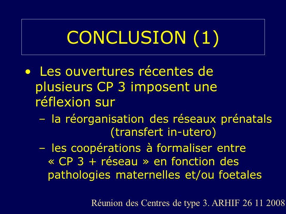 CONCLUSION (1) Les ouvertures récentes de plusieurs CP 3 imposent une réflexion sur. la réorganisation des réseaux prénatals (transfert in-utero)