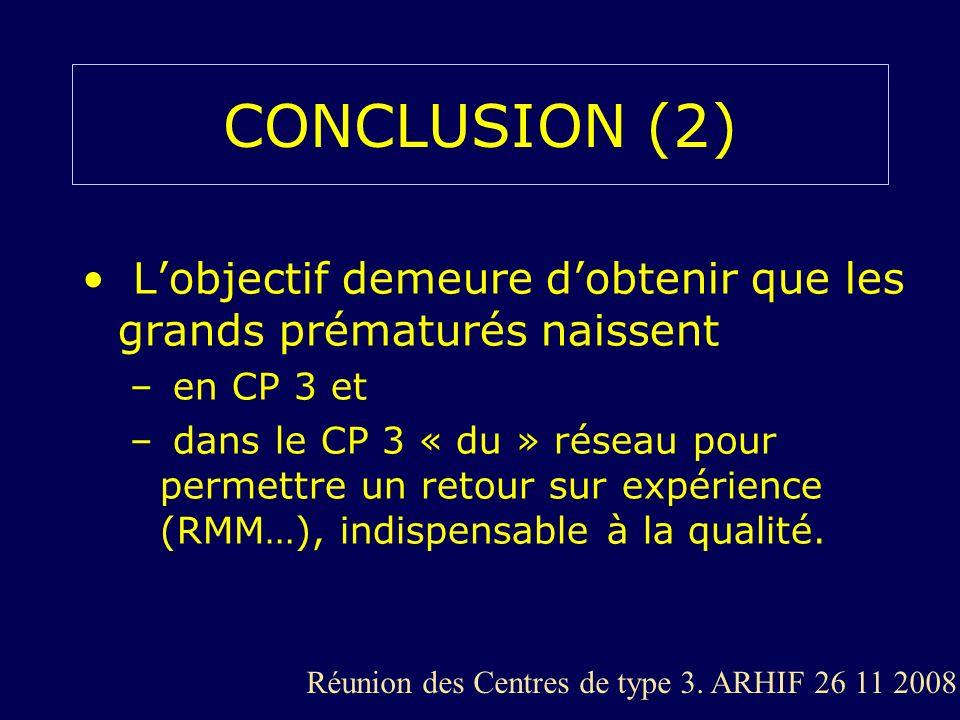 CONCLUSION (2) L'objectif demeure d'obtenir que les grands prématurés naissent. en CP 3 et.