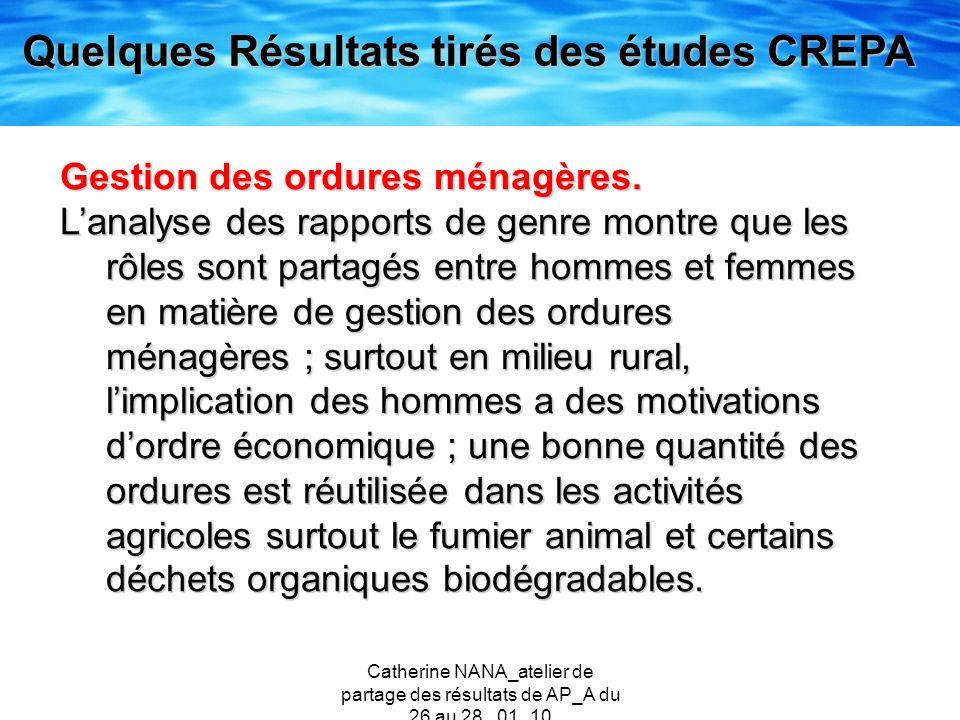 Quelques Résultats tirés des études CREPA