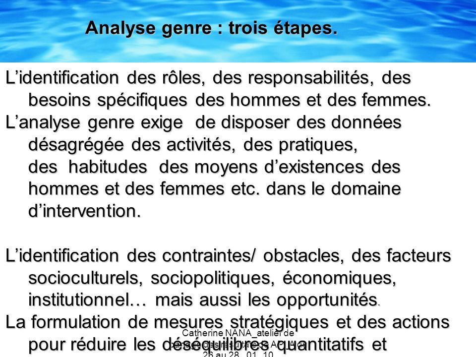 Analyse genre : trois étapes.