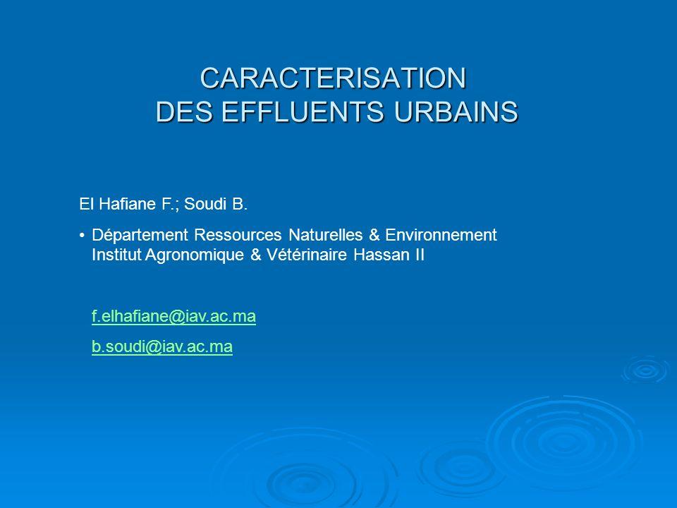 CARACTERISATION DES EFFLUENTS URBAINS