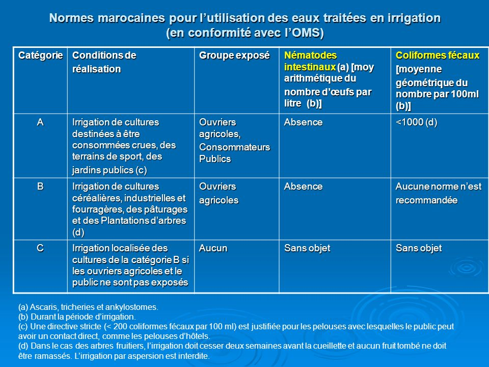 Normes marocaines pour l'utilisation des eaux traitées en irrigation (en conformité avec l'OMS)