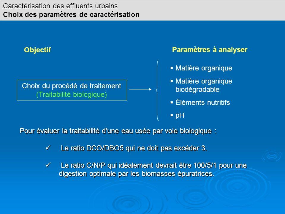 Choix du procédé de traitement (Traitabilité biologique)