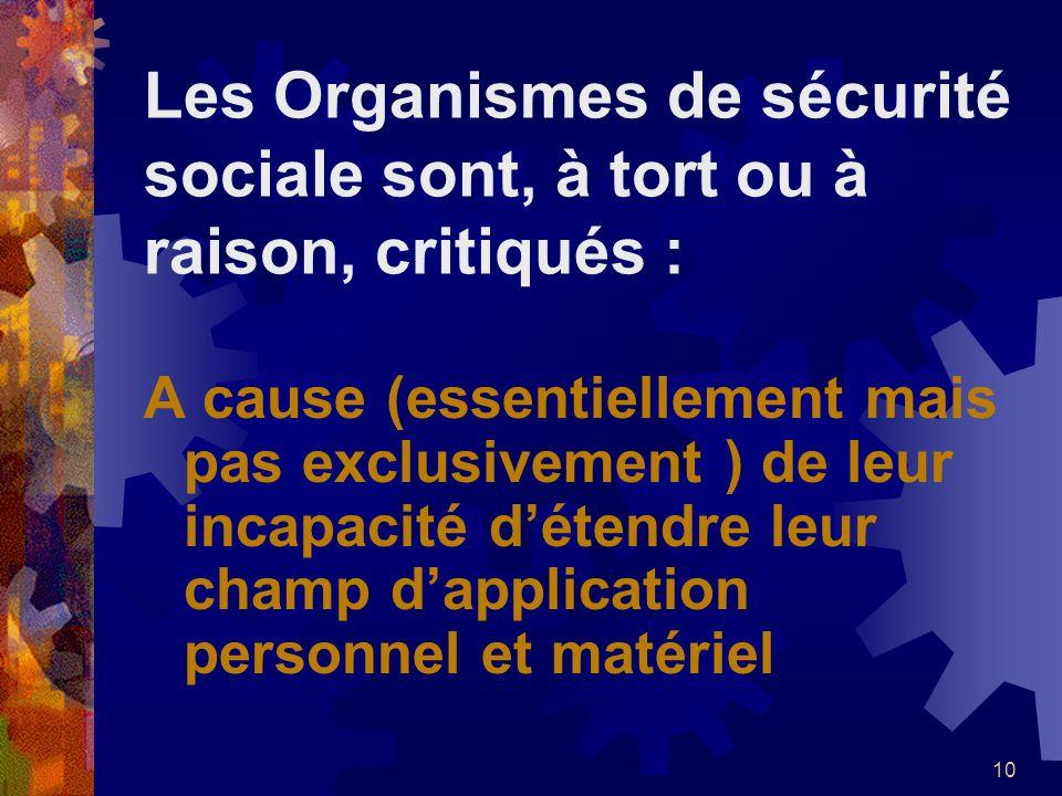 CRITIQUES Les Organismes de sécurité sociale sont, à tort ou à raison, critiqués :