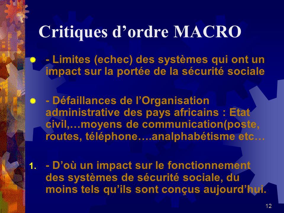 Critiques d'ordre MACRO