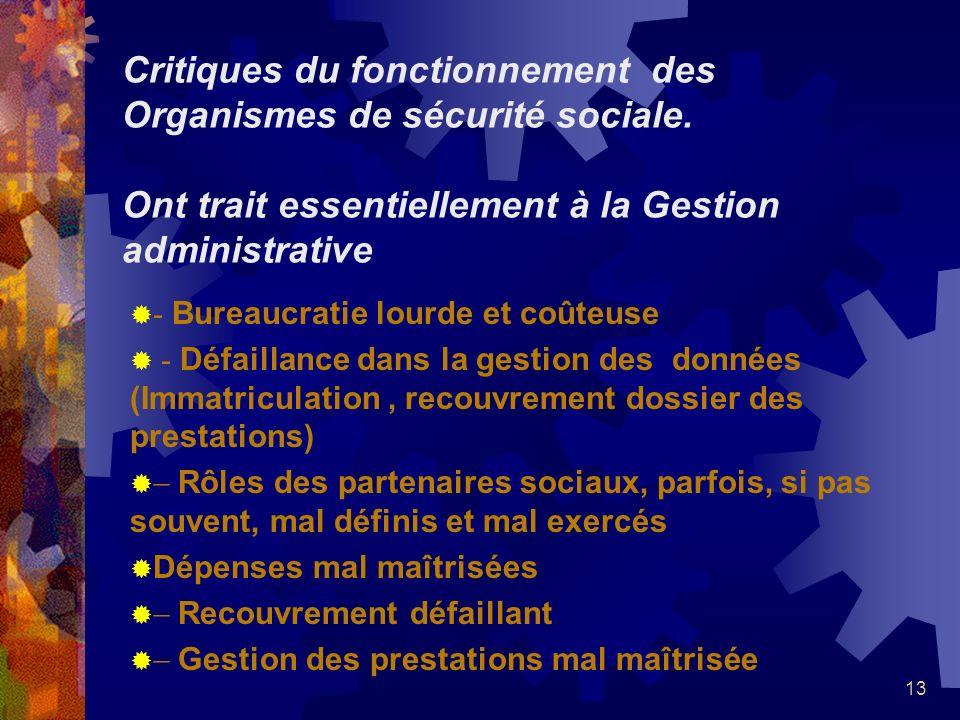 Critiques du fonctionnement des Organismes de sécurité sociale