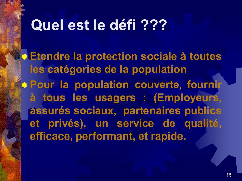 Quel est le défi Etendre la protection sociale à toutes les catégories de la population.