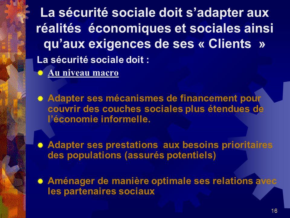 La sécurité sociale doit s'adapter aux réalités économiques et sociales ainsi qu'aux exigences de ses « Clients »