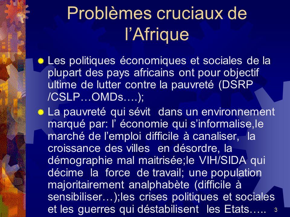 Problèmes cruciaux de l'Afrique