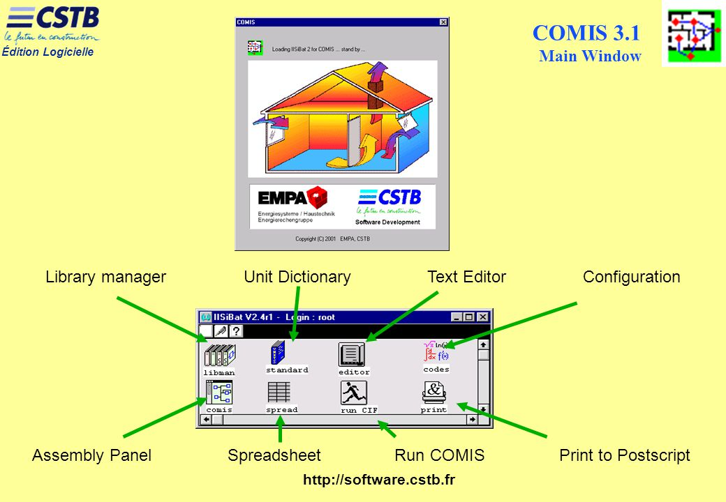 COMIS 3.1 Main Window Library manager Unit Dictionary Text Editor