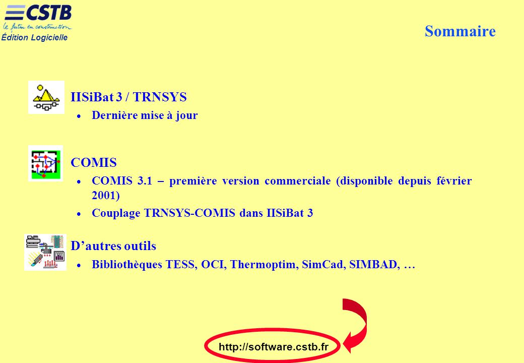 Sommaire IISiBat 3 / TRNSYS COMIS D'autres outils Dernière mise à jour