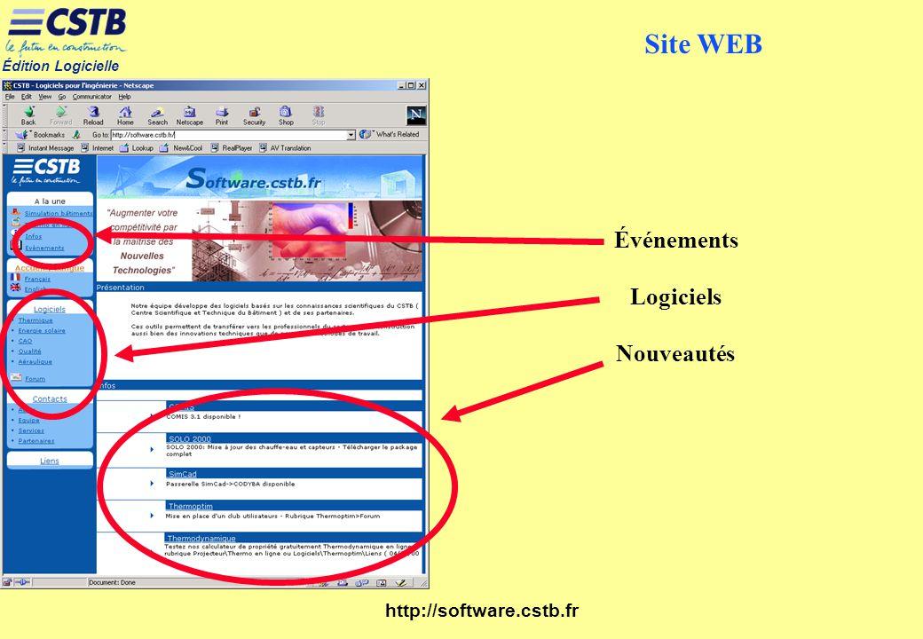 Site WEB Événements Logiciels Nouveautés