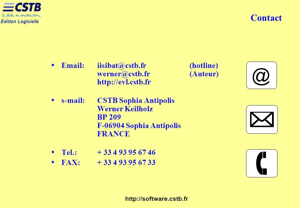 Contact Email: iisibat@cstb.fr (hotline) werner@cstb.fr (Auteur) http://evl.cstb.fr.