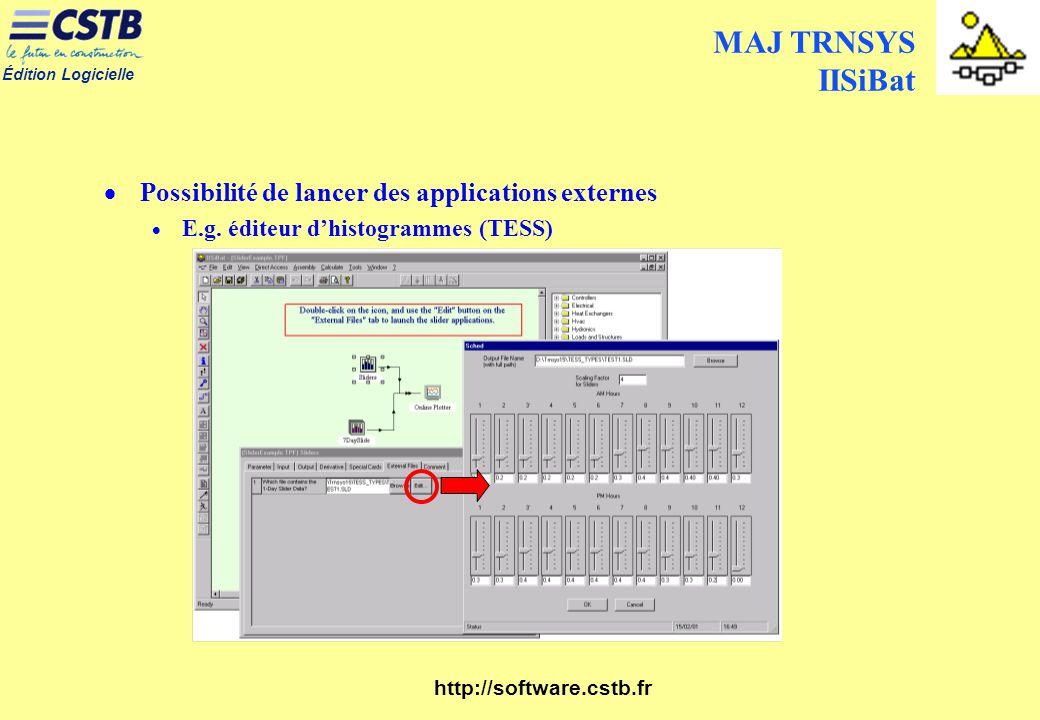 MAJ TRNSYS IISiBat Possibilité de lancer des applications externes