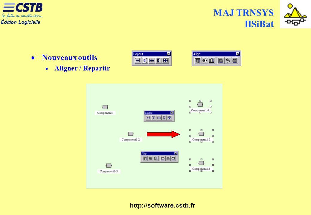 MAJ TRNSYS IISiBat Nouveaux outils Aligner / Repartir