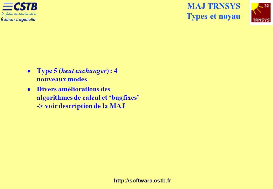 MAJ TRNSYS Types et noyau