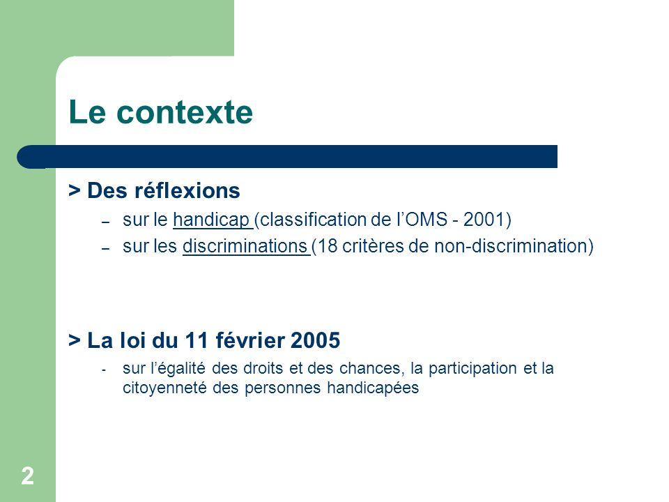 Le contexte > Des réflexions > La loi du 11 février 2005