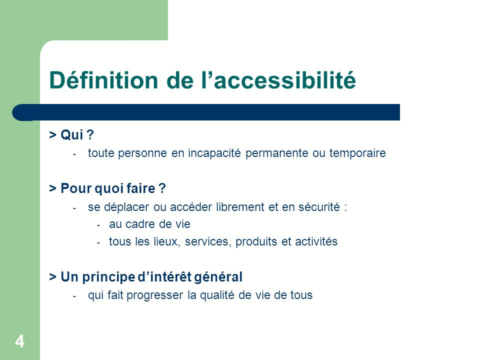 Définition de l'accessibilité