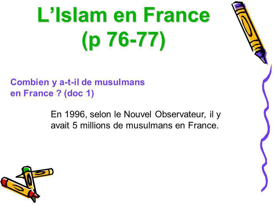 L'Islam en France (p 76-77) Combien y a-t-il de musulmans en France (doc 1)