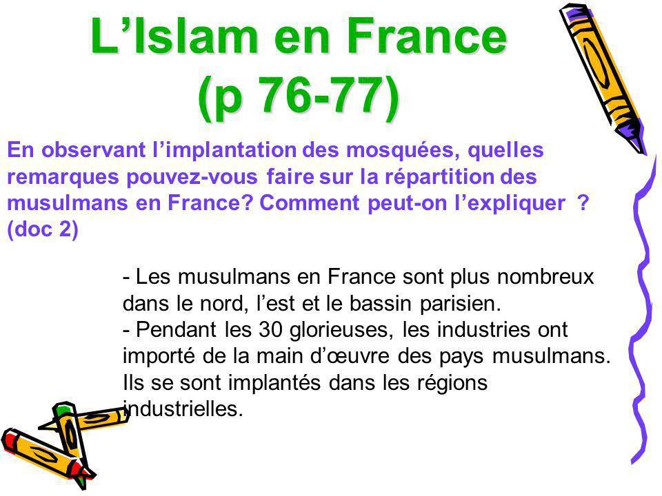 L'Islam en France (p 76-77)